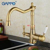 pirinç mutfak lavabo muslukları toptan satış-GAPPO 1 takım altın antika antika pirinç güverte mutfak filtre musluk evye dokunun soğuk ve sıcak su dokunun mikser G4391-4