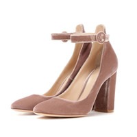 Wholesale Pink Mary Janes - Round Toe Chunky Heel Luxury Velvet High Heeled Pumps Pink Grey Studded Buckle Mary Janes Party Shoes Woman