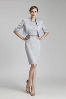 neue spitzenmanschetten groihandel-Neue Designer knielangen Mutter Kleid mit Jacke Abend Satin Lace Party Hochzeitsgast Kleid 2019 Mutter der Braut Kleid Anzug Kleider