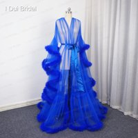 Wholesale Long Ivory Bridal Cloak - Royal Blue Bridal Feather Robe Birthday Feather Long Scarf Tulle Illusion Long Sleeve Pregnant Photography Cloak Prom Party Wear