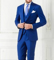 chaqueta formal azul para hombre al por mayor-Royal Blue Los mejores juegos del hombre para la boda de los padrinos de esmoquin Slim Fit formal para hombre Trajes de hombre de negocios de desgaste (chaqueta + pantalones + chaleco)