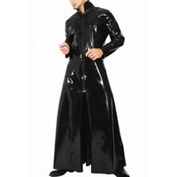 Wholesale sexy pvc clothing online - Black Men Patent Faux Leather Suits Tight Trench Stand Neck Role Glossy Leather Male Sexy Cosplay Costume Clothing ONLY TRENCH