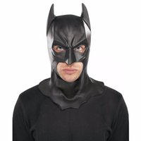 Wholesale batman costumes online - Realistic Halloween Full Face Latex Batman Mask Costume Superhero The Dark Knight Rises Movie Party Masks Carnival Cosplay Props