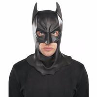 ingrosso batman cosplay-Realistico Halloween Full Face Latex Batman Maschera Costume Supereroe The Dark Knight Rises Movie Party Maschere di Carnevale Cosplay Puntelli
