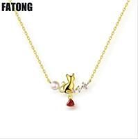 ingrosso collane di perle di granato-Collana in argento 925 con gattino carino con ciondolo a forma di cuore naturale con perla pendente a forma di granato. J0135