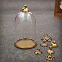Discount glass globe base - 5sets lot 38*25mm glass globe antique bronze base 8mm beads cap set glass bottle vial pendant necklace pendant jewelry finding