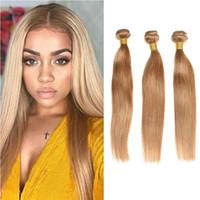 bakire brezilya saçlı bal sarışın toptan satış-Yeni Gelmesi Brezilyalı Bal Sarışın Saç Demetleri # 27 Renkli Düz İnsan Saç Uzatma Işlenmemiş Brezilyalı Bakire Saç Örgüleri