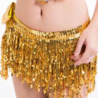 göbek dansı eşarpları toptan satış-Oryantal Dans Kalça Eşarp Bellydance Kemer Hint Dans Kemer Bel Zinciri Belly Kalça Eşarp Kadın Hip Sequins Püskül