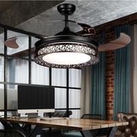 ingrosso luci del lampadario a distanza di controllo-Lampade moderne del ventilatore da soffitto del LED che temporizzano la lampada a sospensione di frequenza del motore di conversione di frequenza di telecomando della lampada di illuminazione invisibile della lampada a sospensione