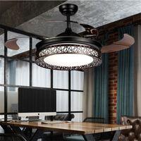 fréquence de la lumière achat en gros de-Moderne LED Ventilateur De Plafond Lumières Lampes Timing Télécommande Commande De Conversion De Fréquence Moteur Lustre Lumière Invisible Suspension Lampe Éclairage