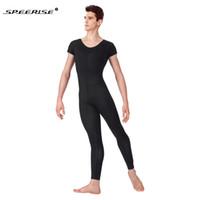 Wholesale one piece jumpsuits adults resale online - SPEERIS Adult One Piece Black Mens Unitard Lycra Ballet Short Sleeve Full Body Tight Jumpsuit Unitards Dance Costumes Bodysuit