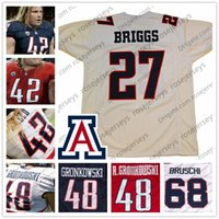 Wholesale gronkowski jersey white - NCAA Arizona Wildcats #68 Tedy Bruschi 48 Rob Gronkowski 42 Brooks Reed 27 Lance Briggs Navy Blue Red White College Football Jerseys S-4XL