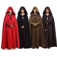 cabos de longitud de piso al por mayor-2kgs alta calidad mujeres capa medieval Vintage invierno gruesa Wicca Hood longitud del piso cabo Poncho 4 colores