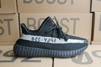 Wholesale rice boxes - 2017 350 V2 by1604 Black rice white 350 size eur 36-48 350 v2 Kanye West Running shoes With Box,Receipt,socks