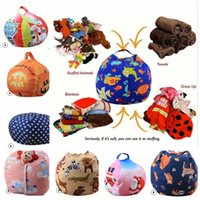 Wholesale bean bag prints resale online - 18inch Storage Bean Bag Christmas world cup animal print Stuffed Animal Bean Bag Chair Kids Toy Storage Bag Clothes Home Organizer KKA5083