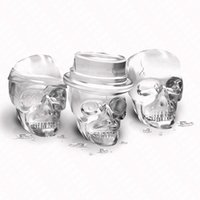 Wholesale plastic ball head resale online - Eco Friendly One Set Skull Head Shaped Silicone Ice Mold Whiskey Cocktail Ice Ball Maker Large Ice Cubes Silicone Rubber