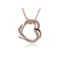 Wholesale Horn Shaped Pendants - whole saleB128 double hollow crystal fashion heart shape pendant necklace
