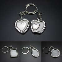 Wholesale mini keychain frames resale online - Zinc Alloy Metal Mini Photo Frame Key Ring Personalized Keychain Promotional Gifts Apple Heart Flower Round Photo Key Chain Free DHL G304S