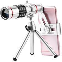 câmera de telefoto freeshipping venda por atacado-Freeshipping Celular Kit Lente Da Câmera Universal 18X Zoom Óptico Teleobjectiva Telescope Len com Liga de Alumínio Tri