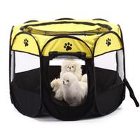 evcil hayvan oyuntayları toptan satış-Köpek Evi Taşınabilir Katlanır Hayvan Çadır Kafes Köpek Kulübesi Köpek Oyun Parkı Açık Nefes Pet malzemeleri Sekizgen Çit