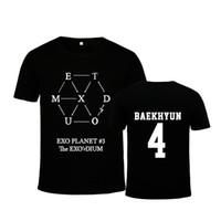 ingrosso camicia eso kpop-KPOP Korean Fashion EXO Pianeta 3 Tour EX'ACT Album DIUM Seoul Concerto in cotone Maglietta K-POP T-Shirt Maglietta PT218