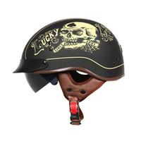 cascos de moto vintage dot al por mayor-Casco de motocicleta de verano Marca TORC T55 medio casco Retro scooter Vintage Lucky 13 cráneo moto casco DOT aprobado capacete