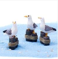 ingrosso decorazioni per uccelli-Sea Bird Gabbiano Stand Stump Miniature Fairy Garden Casa Case Decorazione Mini Craft Micro Landscaping Decor Accessori fai da te