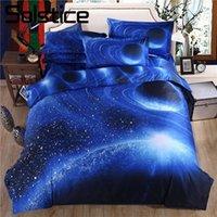 literie à motif bleu achat en gros de-Solstice Accueil Textile 3D Cosmos Starry Sky Galaxy Motif Ensembles de Literie Housse de Couette Taie de Lit Draps 2/3/4 PCS Bleu Linge de Lit