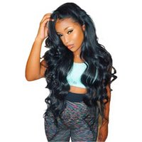 Wholesale body wave wig cap hairstyles online - Top quality with baby hair aaaaa unprocessed remy virgin human hair long natural color body wave full lace cap wig for women