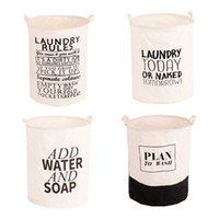 Wholesale waterproofing clothing wash online - 40 cm Foldable Washing Hamper Durable English Letter Pattern Storage Baskets Super Large Waterproof Dirty Clothing Baskets White zy B