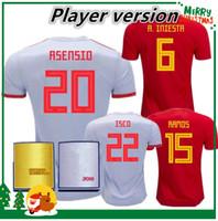 Wholesale fabregas spain jersey - Player version 2018 Spain jersey INIESTA RAMOS home red FABREGAS COSTA SILVA ISCO VAXI 17 18 top quality spain football shirt soccer jersey