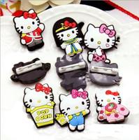 ingrosso hello pin-Nuovi 50 pezzi Hello Kitty Pin Spille Vestiti Distintivi Patch Badge, Regali per bambini P - 12