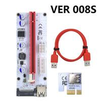 cartão expresso usb venda por atacado-VER 008S VER008S 4Pin Molex SATA 6PIN 15PIN PCIIE PCI-E PCI Express Riser Card Com LED 1X a 16X USB 3.0 Extensor BTC Miner 30 CONJUNTO / LOTE