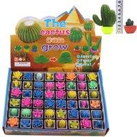ingrosso giocattoli decorativi per ufficio-48 pz / lotto Growing Cactus Water Beads Magia Terreno di cristallo Giocattoli in vaso per la decorazione scrivania ufficio