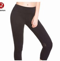 Wholesale wear yoga pants online - 2018 new throgh High Waist Women Pant yoga pants Solid Black Sports Gym Wear Leggings Elastic Fitness Lady Overall Full Tights
