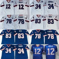 Wholesale kelly manning - Retired Player 12 Jim Kelly 34 Thurman Thomas Jerseys Vintage 78 Bruce Smith 83 Andre Reed Jersey Blue White Throwback Stitched Jersey