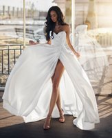 Wholesale high collar maternity wedding dresses resale online - 2019 Sheath Sweetheart Strapless Beach Wedding Dresses Sexy Open Back Bridal Gowns Court Train