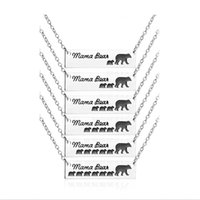 Wholesale christmas gifts for moms - 2018 Inspired Silver Plated Bar Necklace Polar Mama Bear Babys Bear Necklace Gifts for Mom Wife Mother's Day Gift Birthday Remembrance