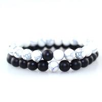 ingrosso i monili di perline del turmaline nero-Trendy Black White Stone Beads Distanza Bracciale Tourmaline Lava Yoga Strand Wristband per Donna Uomo Coppia Braccialetti Gioielli