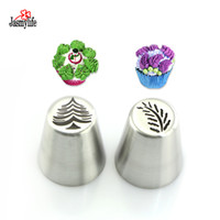 Wholesale Ice Mold Pipe - 2PCS Mistletoe Christmas tree russian nozzles Icing Piping Tips Baking Cupcake Pastry Tools Cake Decoration Mold cake tool