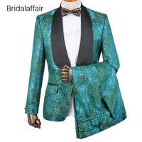 özel balo kıyafetleri toptan satış-Gwenhwyfar Ismarlama Damat Smokin Moda Yeşil Çiçek Baskılı Slim Fit Erkekler Suit Set Düğün Balo Erkek 2 Adet Suits (Ceket + Pantolon)