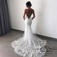 Wholesale Cheap Detachable Wedding Gowns - Sexy Backless Mermaid Country Wedding Dresses with Detachable Train 2018 Overskirts Plus Size Vintage Lace Cheap Trumpet Beach Bridal Gowns