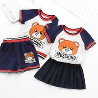 ingrosso vestito da bambino-Ragazzi e ragazze set 2018 estate nuovo stile T-shirt a maniche corte per bebè orso bambino t-shirt da bambino vestito casual a due pezzi