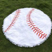 ingrosso materiale yoga mats-10pcs 150cm Baseball Round Beach Towel Blanks all'ingrosso Bullskull Yoga Mat Asciugamano Materiale panno Coperta da spiaggia unicorno