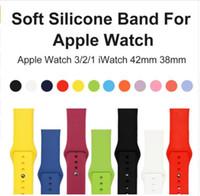 силиконовые спортивные наручные часы браслет оптовых-Мягкий силиконовый сменный спортивный ремешок для Apple Watch Series 1/2/3 42мм 38мм наручный браслет-ремешок для спортивных браслетов iWatch