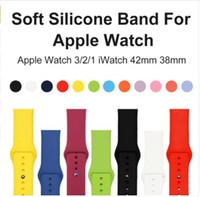 bandas de reemplazo para reloj de manzana al por mayor-Banda deportiva de reemplazo de silicona suave para Apple Watch serie 1/2/3 42 mm 38 mm pulsera pulsera Correa para iWatch Sportsbands