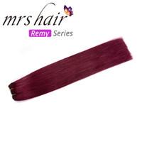 Wholesale brazilian virgin hair bundle pack resale online - MRSHAIR Brazilian Straight Hair Bundle Weaves Burgundy J Double Weft Remy Human Hair Extensions g Pack