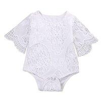 einteilige spitze kurze ärmel großhandel-Pudcoco Bodys Baby einteiliger Sommer Neugeborenes Baby Mädchen Lace Floral Bodysuit Kurzarm