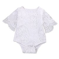 одно кружево с короткими рукавами оптовых-Pudcoco Bodysuits Baby One-piece Summer Newborn Baby Girl Lace Floral Bodysuit Short Sleeve