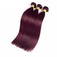 bordo saç örgüleri toptan satış-Brezilyalı Düz Saç Burgonya Brezilyalı Saç Dokuma Paketler İpeksi Düz Saç Dantel Kapanması ile 3 Paketler 14 + 10 12 14